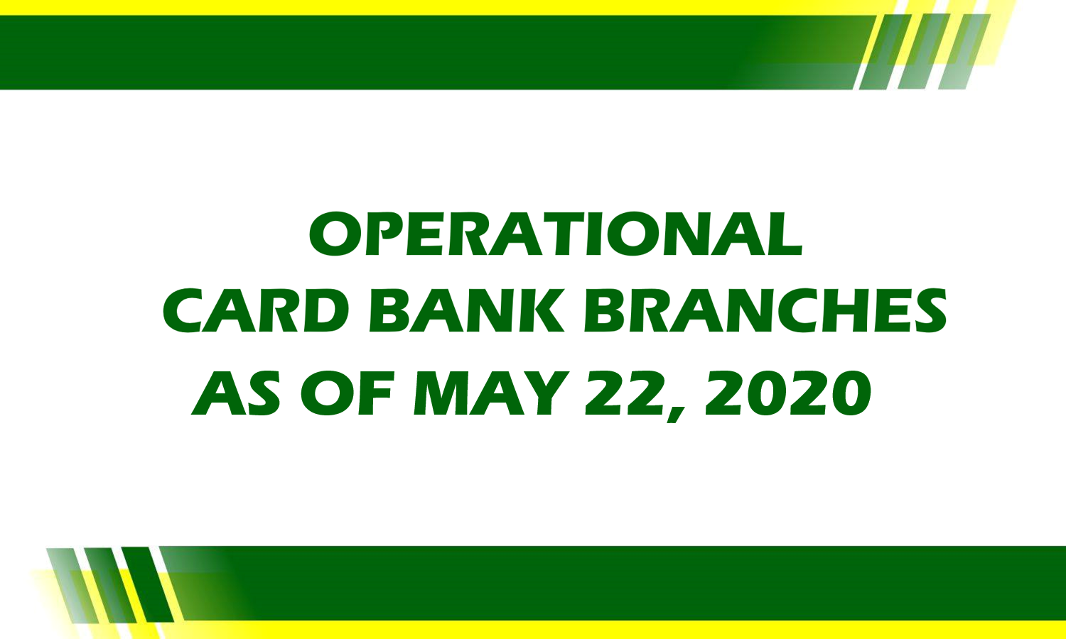 List of Operational Branches As of May 22, 2020